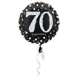 70-es Happy Birthday Sparkling Születésnapi Héliumos Fólia Lufi, 46 cm