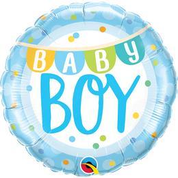 Kisfiú Babaszületésre - Baby Boy Héliumos Fólia Lufi, 46 cm