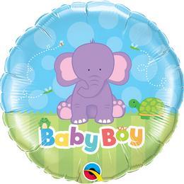 18 inch-es Baby Boy Elephant Fólia Lufi Babaköszöntőre