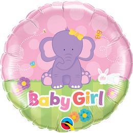 18 inch-es Baby Girl Elephant Fólia Lufi Babaköszöntőre
