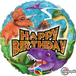 18 inch-es Birthday Dinosaurs Szülinapi Holografikus Fólia Lufi