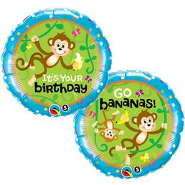 18 inch-es Birthday Monkeys Go Bananas Szülinapi Fólia Lufi