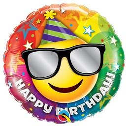 18 inch-es Birthday Smiley Szülinapi Héliumos Fólia Lufi