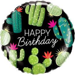 Kaktusz Mintás Happy Birthday Szülinapi Héliumos Fólia Lufi, 46 cm