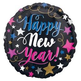 18 inch-es Csillagos Happy New Year Pink & Blue Feliratú Szilveszteri Fólia Lufi
