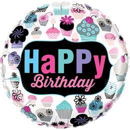 18 inch-es Cupcakes Emblem - Muffin Mintás Happy Birthday Szülinapi Fólia Lufi