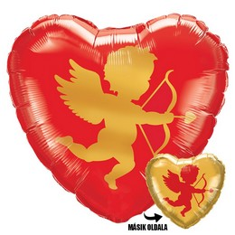 Cupido Piros Arany Szív Héliumos Fólia Lufi, 46 cm