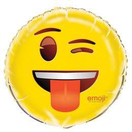 18 inch-es Emoji Kacsintó Nyelvkinyújtós Fólia Lufi