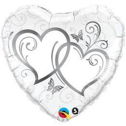 Ezüst Szíves Esküvői Héliumos Szív Alakú Fólia Lufi, 46 cm