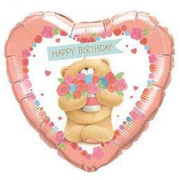 18 inch-es Forever Friends Bday Bear Szülinapi Szív Héliumos Fólia Lufi