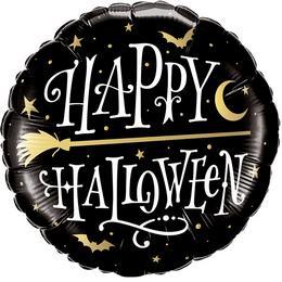 Happy Halloween Boszorkányseprű Mintás Héliumos Fólia Lufi, 46 cm