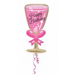 Happy Birthday Pink Glass Fólia Lufi