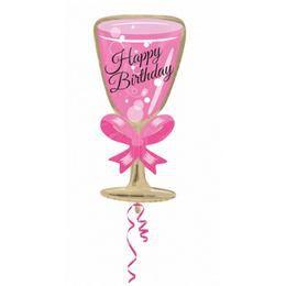 Happy Birthday Pink Glass Fólia Lufi