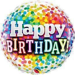 18 inch-es Happy Birthday Rainbow Confetti Szülinapi Héliumos Fólia Lufi