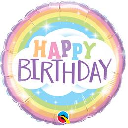 Happy Birthday Rainbow Szivárvány Szülinapi Héliumos Fólia Lufi, 46 cm
