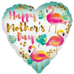 18 inch-es Happy Mother's Day Flamingos Szív Anyák Napi Fólia Lufi