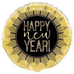 Happy New Year Fekete Arany Héliumos Fólia Lufi, 46 cm