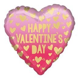 Happy Valentine's Day Arany Pink Piros Szív Héliumos Fólia Lufi, 46 cm