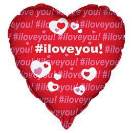 Szerelemes #iloveyou - Feliratos Héliumos Fólia Lufi, 46 cm
