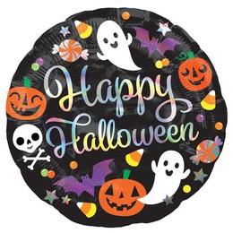 18 inch-es Irizáló Happy Hallowen Feliratú - Iridescent Halloween Fólia Lufi Hallowee