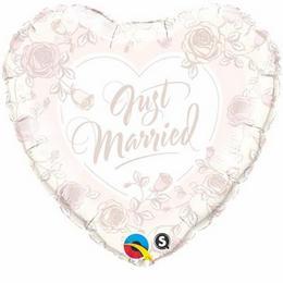 Friss Házasok Rózsa Virág Mintás Esküvői Szív Héliumos Fólia Lufi