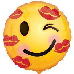 18 inch-es Kiss Emoji Szerelmes Fólia Lufi