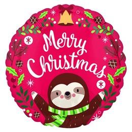 Lajhár - Sloth Christmas Héliumos Fólia Lufi, 46 cm
