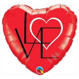 Piros Szív Alakú Szerelmes - Love Feliratos Héliumos Fólia Lufi, 46 cm