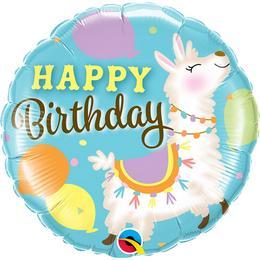18 inch-es Llama Happy Birthday - Láma Szülinapi Fólia Lufi