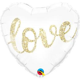 Love Feliratú Glitter Gold Szív Alakú Héliumos Fólia Lufi, 43 cm