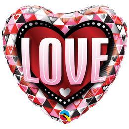 18 inch-es Love Triangles Szerelmes Szív Héliumos Fólia Lufi