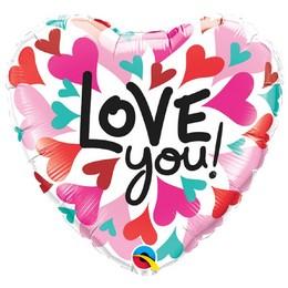 Szívecske Mintás, Love You! Feliratos Héliumos Fólia Lufi