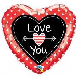 18 inch-es Love You Dots & Arrows Szerelmes Szív Fólia Lufi