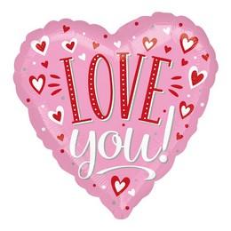 Love You Pink Piros Fehér Szívecskés Szív Héliumos Fólia Lufi, 46 cm