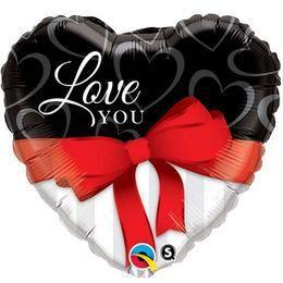 Love You Red Ribbon Szív Alakú Fólia Lufi - 91 cm