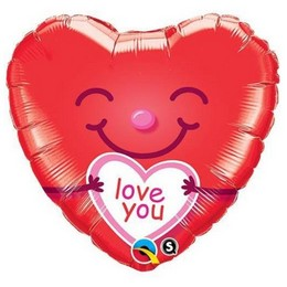 Piros Mosolygó Szív Alakú, Love You Feliratos Héliumos Fólia Lufi