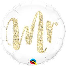 Mr. Feliratú Glitter Gold Héliumos Fólia Lufi, 43 cm