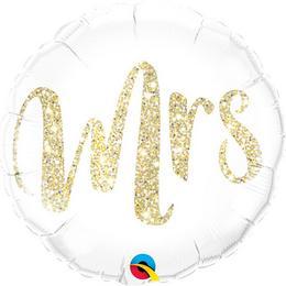 18 inch-es Mrs. Feliratú Glitter Gold Esküvői Fólia Lufi