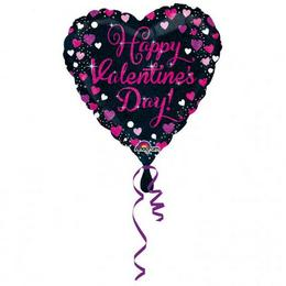Rózsaszín Szívecske Mintás Valentin Napi Héliumos Fólia Lufi, 46 cm