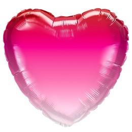 Pink Ombre Szív Héliumos Fólia Lufi, 46 cm