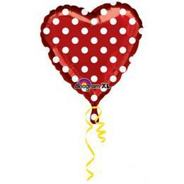 Piros, Fehér Pöttyös Szív Alakú Szerelmes Héliumos Fólia Lufi, 46 cm