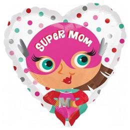 18 inch-es Super Mom Szív Fólia Lufi