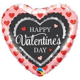 18 inch-es Valentine's Scalloped Trim Szerelmes Szív Héliumos Fólia Lufi