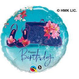 18 inch-es Virágos Cipő és Táska - Birthday Shoes & Handbag Szülinapi Héliumos Fólia