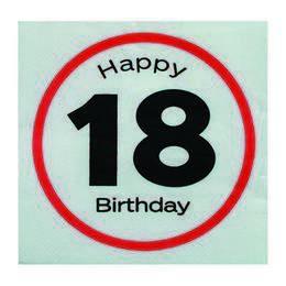 Happy Birthday 18-as Sebességkorlátozó Szülinapi Parti Szalvéta - 33 x 33 cm, 20 db-o