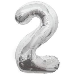 2-es Ezüst Szám Héliumos Fólia Lufi, 86 cm