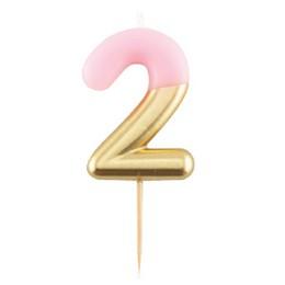 2-es Pink Arany Színű Szülinapi Gyertya
