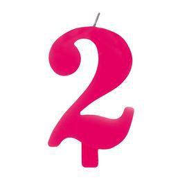 2-es Rózsaszín Szülinapi Számgyertya Tartóval