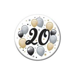 20-as Elegáns Léggömbös Szülinapi Kitűző