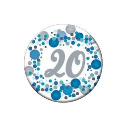 20-as Kék Pasztell Konfettis Kitűző